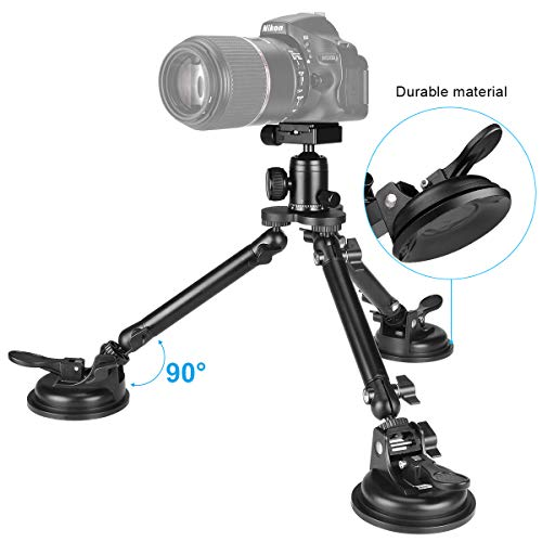 Professional Heavy Duty DSLR Camera Suction Cup Car Mount Camcorder Vehicle Holder w/ Quick Release 360°Panorama Ball Head Compatible with Nikon Canon Sony Mirrorless for Hi-Speed Motion Photography by fantaseal (Image #2)