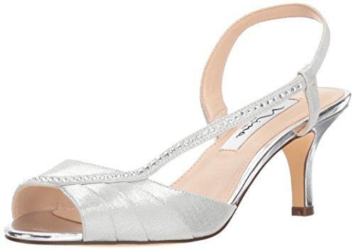 (NINA Women's Cabell Heeled Sandal, True Silver, 8 M US)