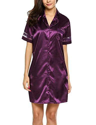 Hotouch Women's Satin Silk Sleep Shirt - Luxury Sleepwear Nightshirt Purple (Womens Satin Nightshirts)