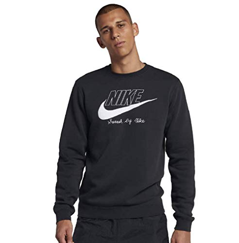 Nike Sportswear Club Fleece Crew Black/White/White AA6403-010 (X-Large)
