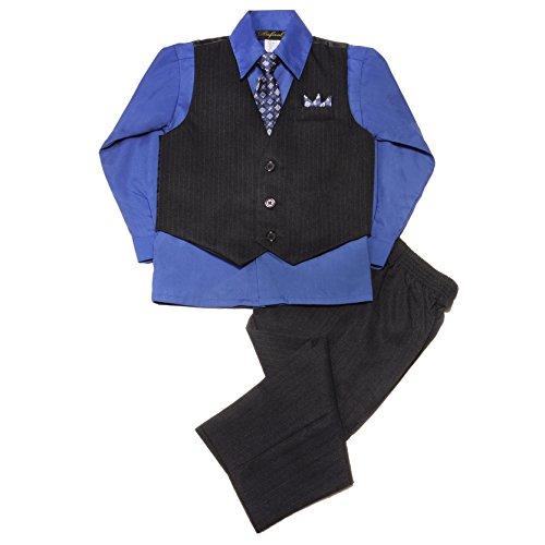 NancyAugust Baby Boy Black Pinstripe Vest Set -Black/Royal Blue-S
