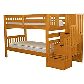 High Quality Bedz King Stairway Bunk Beds Twin Over Twin With 3 Drawers In The Steps,  Honey