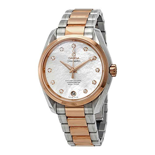 Omega Seamaster Aqua Terra Mother of Pearl Diamond Dial Steel and 18K Rose Gold Ladies Watch 23120392155003