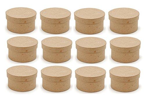 (BULK BUY 2 Inch Mini Paper Mache Boxes Round with Lids 3 Dozen --36 Boxes)