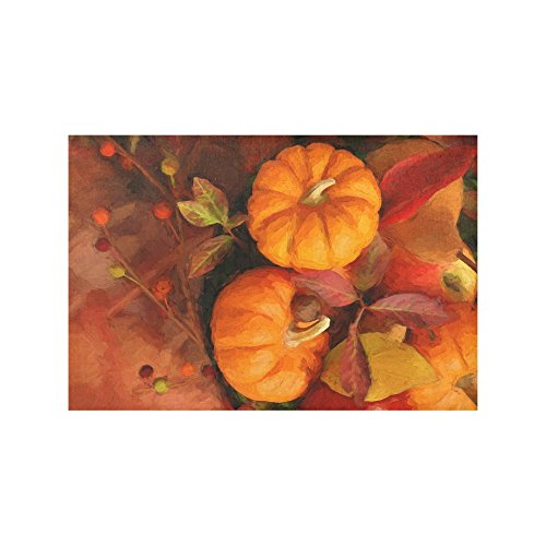 InterestPrint Autumn Pumpkins Fabric Placemat Plate Holder Set of 6, Heat Insulation Resistant Fall Maple Leaves Table Mats Protector 12
