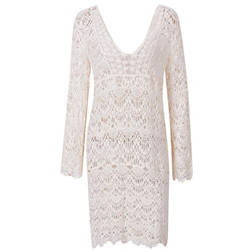 (Sexy Sarongs Beach Lace Knitted Embroidery Crochet Beach Cover Up Bathing Suit White Robe Women Cover-Ups,2 Beige,One Size)