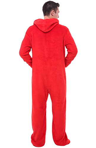 Alexander Del Rossa Mens Fleece Onesie, Hooded Footed Jumpsuit Pajamas, Large Red (A0320REDLG) by Alexander Del Rossa (Image #2)