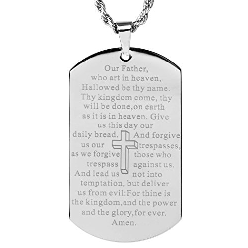 West Coast Jewelry Stainless Steel 'Lord's Prayer' Mirror Polished Dog Tag Pendant Necklace - 24