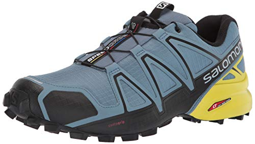 Salomon Men's Speedcross 4 Trail Running Shoes, Bluestone/Black/Sulphur Spring, 8.5 US