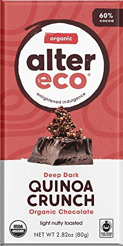 Alter Eco | Dark Quinoa Crunch | 60% Pure Dark Cocoa, Fair Trade, Organic, Non-GMO, Gluten-Free Dark Chocolate Bar, Single Bar