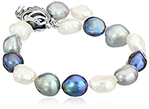 """Dyed Black and Gray Free-Form Freshwater Cultured Pearl Bracelet with Sterling Silver Clasp (10-11mm), 7.75"""""""