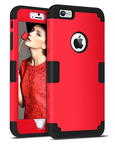 iPhone SE Case, iPhone 5S Case, iPhone 5 Case, BENTOBEN 3 in 1 Heavy Duty Rugged Hybrid Hard PC Soft Silicone Bumper Shockproof Anti-Scratch Case Cover for iPhone 5 5S SE, Red/Black