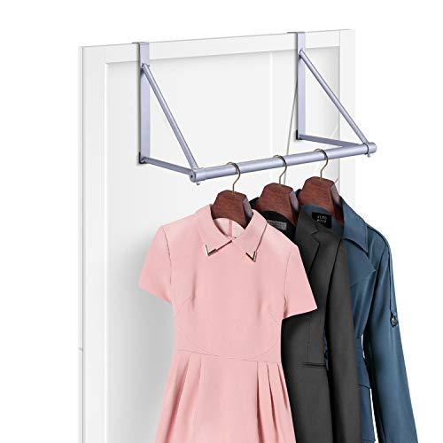 - Simple Trending Over The Door Closet Rod Hanger with Door Hook, Clothes Garment Organizer Rack for Hanging Clothes, Metal, Silver
