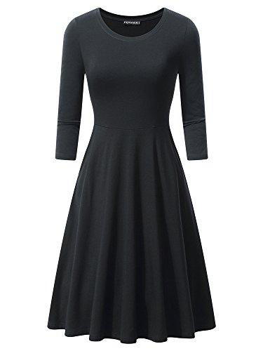 FENSACE Womens 3/4 Sleeves Casual A-line Cotton Midi Dress