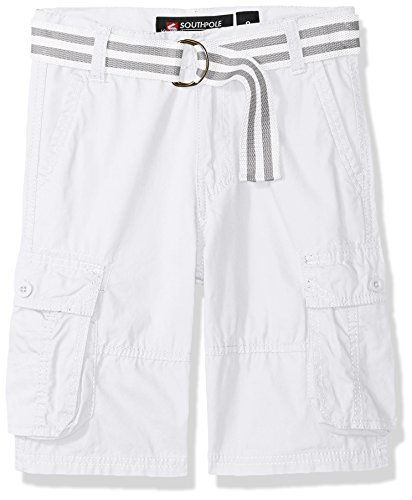 Southpole Boys' Big' Belted Mini Canvas Cargo Shorts in, White, 16