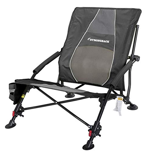 STRONGBACK Low Gravity Beach Chair Heavy Duty Portable Camping and Lounge Travel Outdoor Seat with Built-in Lumbar Support, Black, Recliner