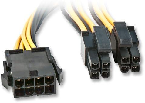 LINDY 33163 Cable de alimentación Interna 0,4 m - Cables de alimentación Interna (0,4 m, EPS (8-Pin), 8-Pin(4+4) EPS12V, Male Connector/Female Connector, Negro, Amarillo)