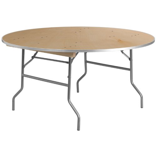 (Flash Furniture 60'' Round HEAVY DUTY Birchwood Folding Banquet Table with METAL Edges)