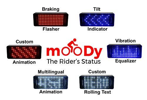 VOIDRON Moody-The Rider's Status, Smart Braking & Turn LED Indicator, Text & Animation Display (Red)
