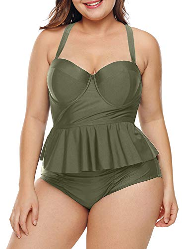 0bfe85427ce Uniarmoire Womens High Waist Bikini Swimwear Costume Two-Piece Swimsuit  Plus Size Brown L