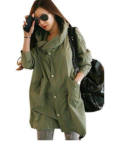 Army Green XL(20-22) Ladies Skull Back Retro Military Coat Parka ...