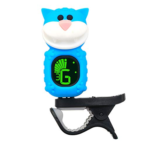 SWIFF Guitar Tuner, Clip-on Tuner for Guitar, Ukulele, Bass, Violin, Mandolin, and Banjo, Cartoon Cat Design, Highly Precise, Easy to Read, Auto Power-Of (Blue)
