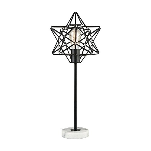 - Elk Lighting D3791 Archimedes Table Lamp, Black, White Marble