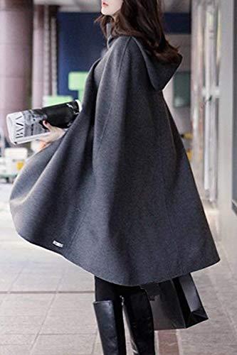 Spcial Roul Grey Fashion Chale Style Automne Femme Manche lgant Cape sans Chale Manches Printemps Col Poncho Manteau Large Uni Capuchon I0Aqw4