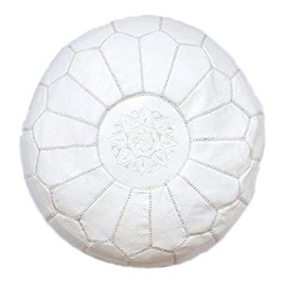 """22"""" Moroccan white Pouf leather Ottoman Footstool Pouffe Hassock New Pouff poof"""