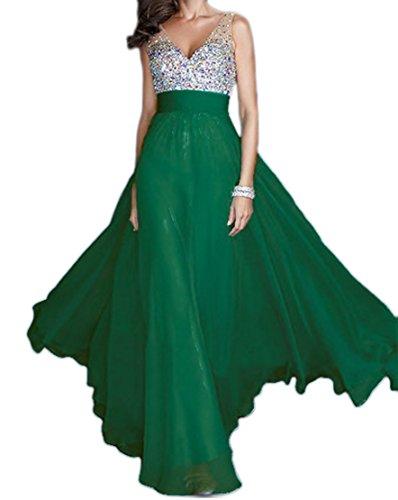Lentejuelas Fiesta Gasa Verde Con de Vestido Eyekepper de Baile Mujeres Cuello Largo de Noche de de V Novia La Las de de en wS7X6q7g