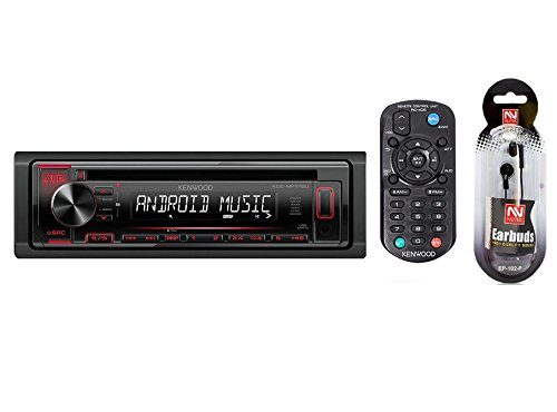 Kenwood CD, CD-R/RW, MP3/WMA Receiver AM/FM Radio with Front Panel USB and AUX Input and Remote Control Includes a Free Pair of NUTEK EARBUDS