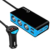 [2018 Version]Car Charger, CHGeek [120W 6.8A] 12V/24V 3-Socket Cigarette Lighter Splitter Power Adapter DC Outlet with 4-Port USB for iPhone iPad Samsung Galaxy S8 GPS Dash Cam Radar Detector and more (Blue)