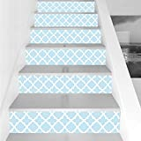 Stair Stickers Wall Stickers,6 PCS Self-Adhesive,Light Blue,Vintage Decorations Fabric Pattern Country Style Monochromic Illustration Artwork Print,Stair Riser Decal for Living Room, Hall, Kids Room