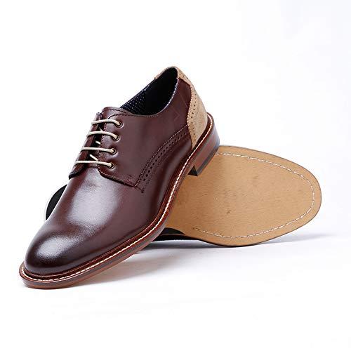 Zhuxin Herren Business Leder Oxford spleißen Schuhe Hochwertige Schnürschuhe lässig spleißen Oxford Schuhe (Farbe : Braun, Größe : 43 EU) Braun 9a35af