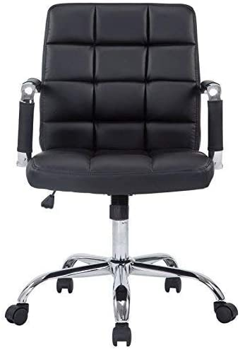 Amazon Com Poly And Bark Manchester Mid Century Modern Office Chair Adjustable Height Tilt And 360 Swiwel Aluminum Base Chrome Coated Frame Soft Vegan Leather In Black Furniture Decor