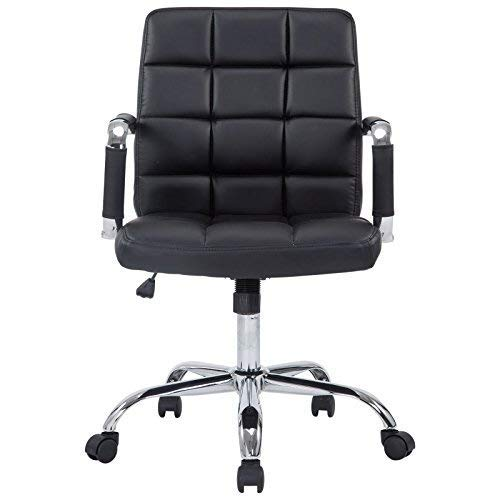 Poly and Bark Manchester Mid-Century Modern Office Chair, Adjustable Height, Tilt and 360 Swiwel, Aluminum Base, Chrome Coated Frame, Soft Vegan Leather in Black