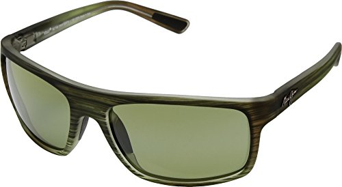Maui Jim Byron Bay HT746-15MR | Polarized Matte Green Stripe Rubber Wrap Frame Sunglasses, Blue Hawaii Lenses, with Patented PolarizedPlus2 Lens Technology