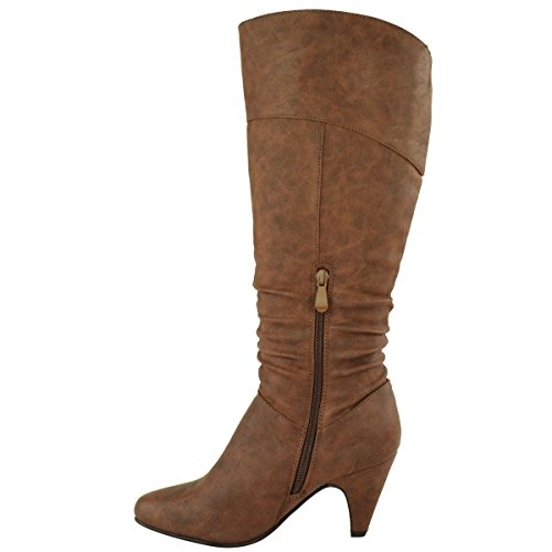 HEEL SHOES RIDING BLOCK HIGH SIZE LOW Leather CHUNKY Faux BOOTS CALF KNEE LADIES WOMENS MID Brown BqPFUxX