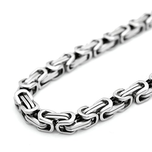 """SANDRA Design 18-40""""Mens Stainless Steel Heavy Wide 9Mm Silver Byzantine Box Chain Necklace"""