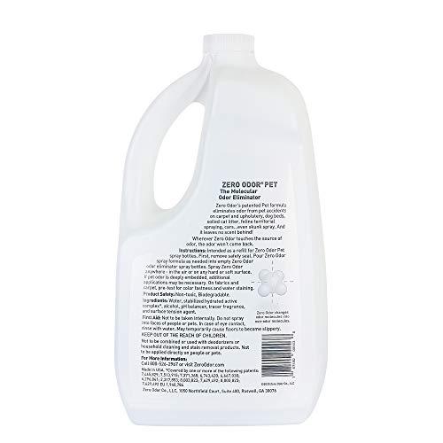 Zero Odor Pet Odor Eliminator - Air Cleaner, Purifier & Deodorizer - More Than an Air Freshener - Actually Eliminates Odors at a Molecular Level - Refill (64 Ounces)