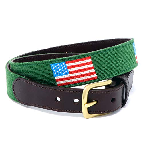 - USA Flag (Green) Needlepoint Belt for Men Handmade w/Cotton on Full Grain Leather Backing & Solid Brass Buckle (40, USA Flag (Green))