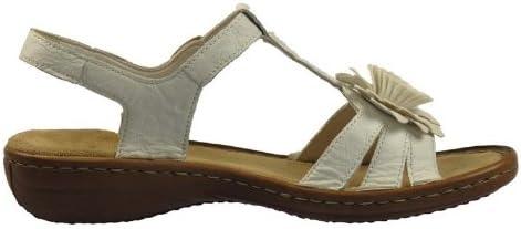 Rieker 60856 Femmes Sandales Cuir, Blanc, Taille 42: Amazon