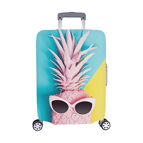 Painted Pineapple Sunglasses On Vibrant Duotone Spandex Trolley Case Travel Luggage Protector Suitcase Cover 28.5 X 20.5 ()