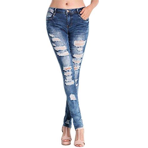 Stylish Plus Size Jeans - Stylish Personality Design Women Casual Denim Ripped Long Pants Mid Waist Jeans Slim Trousers