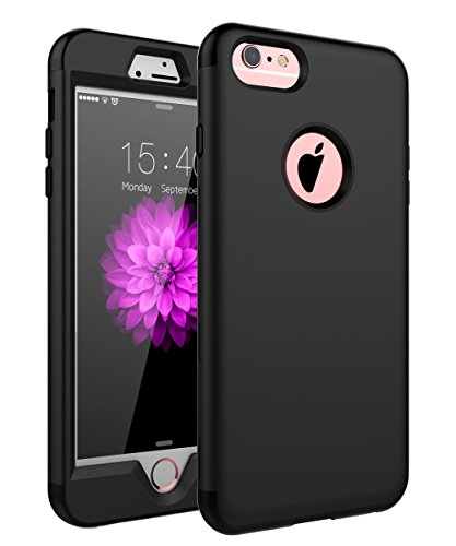 SKYLMW Case for iPhone 6 Plus, Case for iPhone 6s Plus, Three Layer Heavy Duty High Impact Resistant Hybrid Protective Cover Case for iPhone 6 Plus/6s Plus (Only for 5.5), Black