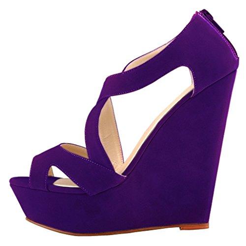 EKS - Zapatos de Tacón Mujer Morado - Lila-Wildleder