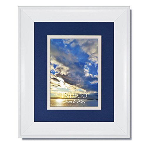 One 11x14 Metro White Picture Frame with Clear Glass and Double Nautica Blue/White Mat for 8.5x11 image