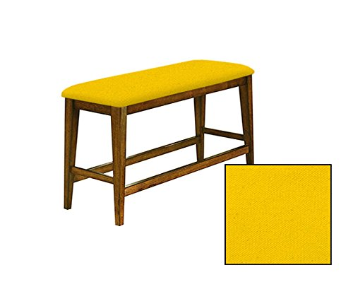 """Counter Height 25"""" Tall Universal Bench in an Oak Finish Featuring a Padded Seat Cushion With Your Choice of a Colored Canvas Covered Seat Cushion (Yellow)"""