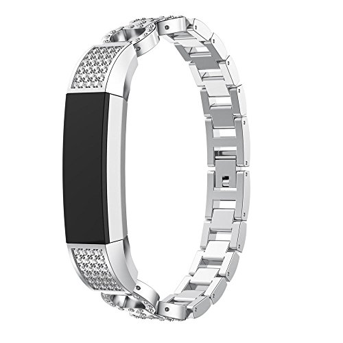 Fullfun Bling Alloy Crystal Wrist Strap for Fitbit Alta HR/Fitbit Alta Replacement Watchband (Silver) by Fullfun