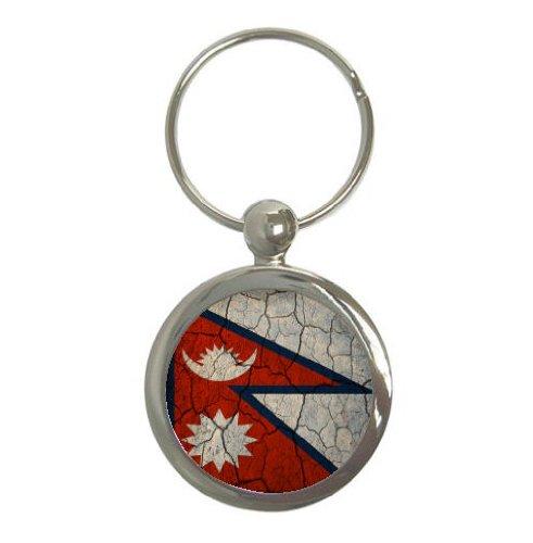 Nepal Flag Crackled Design Round Keychain